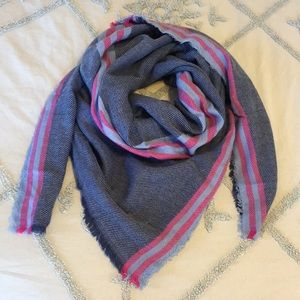 Blanket Scarf - Navy & Striped